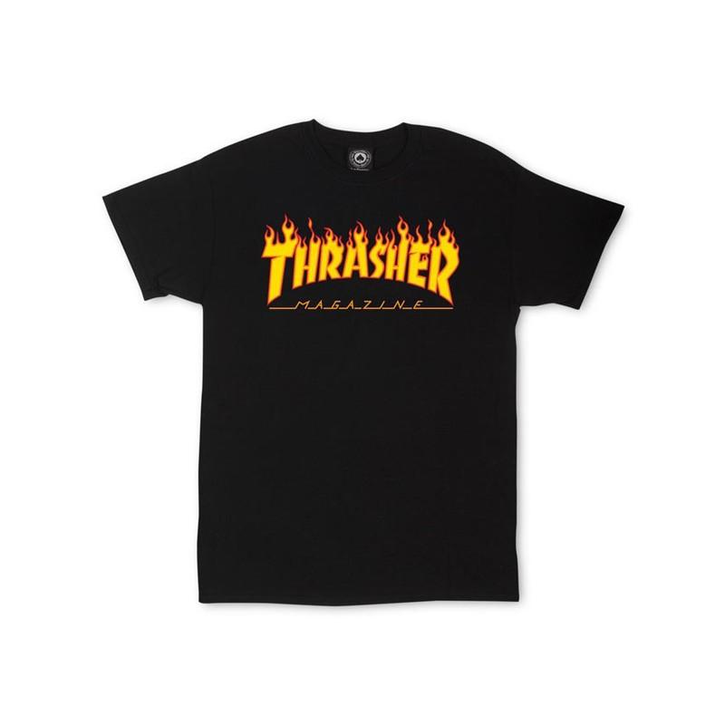 THRASHER T-SHIRT BLACK LOGO FLAME