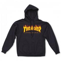 THRASHER HOODY SWEAT FLAME BLACK