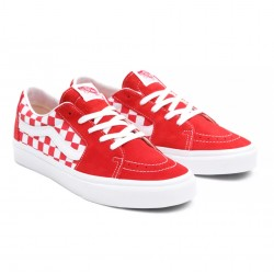 VANS SK8-LOW CANVAS LEATHER RACING RED WHITE